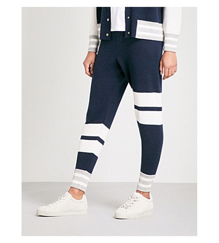 ZOE JORDAN Hitchcock wool and cashmere-blend jogging bottoms (Navy+white+red