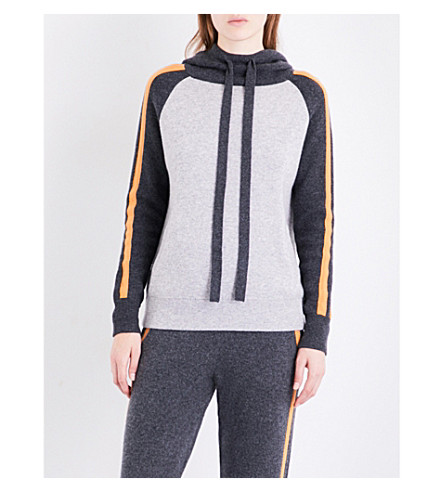ZOE JORDAN Banks wool and cashmere-blend hoody (Slate+apricot