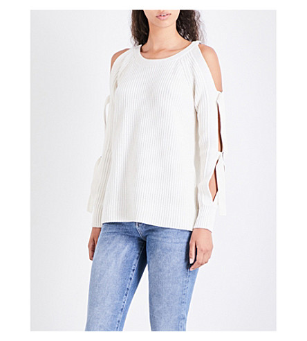 ZOE JORDAN Wright wool and cashmere-blend jumper (White