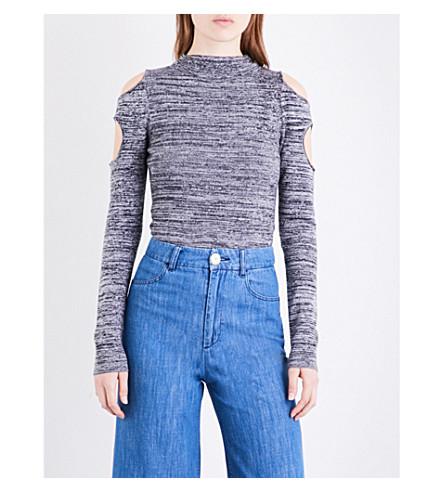 ZOE JORDAN Urey high-neck wool and cashmere-blend top (Black+white