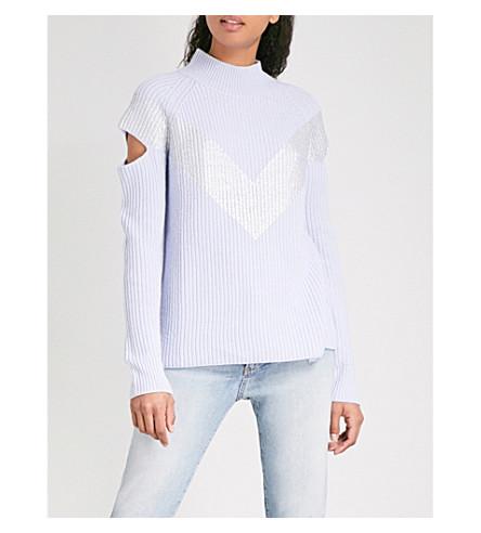 ZOE JORDAN Graham wool and cashmere-blend jumper (Blue+silver