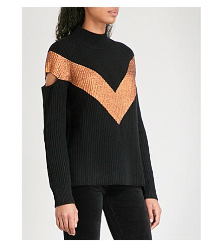 ZOE JORDAN Graham wool and cashmere-blend jumper (Black+copper
