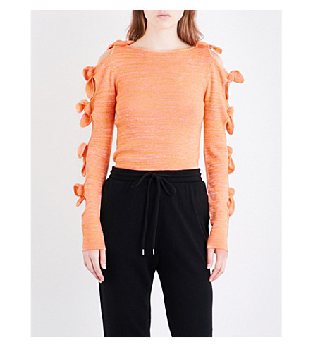 ZOE JORDAN Lovelace wool and cashmere-blend top (Apricot