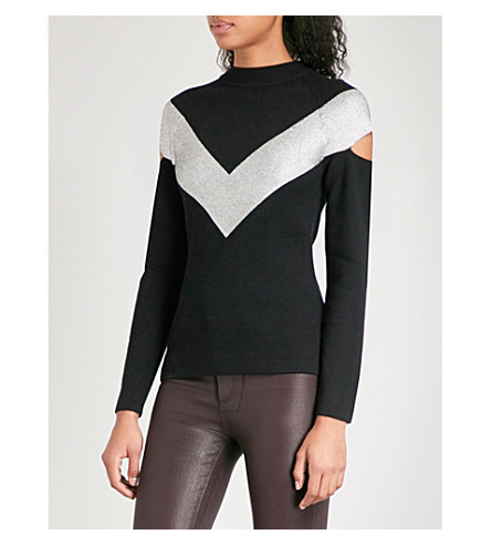 ZOE JORDAN Graham wool and cashmere-blend jumper (Black+silver