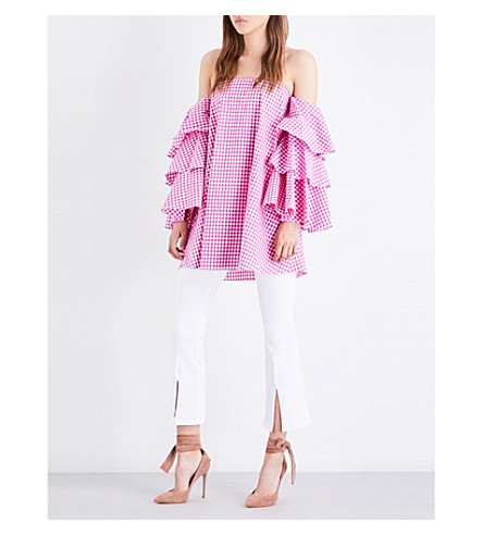 CAROLINE CONSTAS Carmen off-the-shoulder cotton-poplin top (Fuchsia+gingham