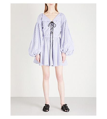 CAROLINE CONSTAS Olympia cotton mini dress (Royal+blue+stripe