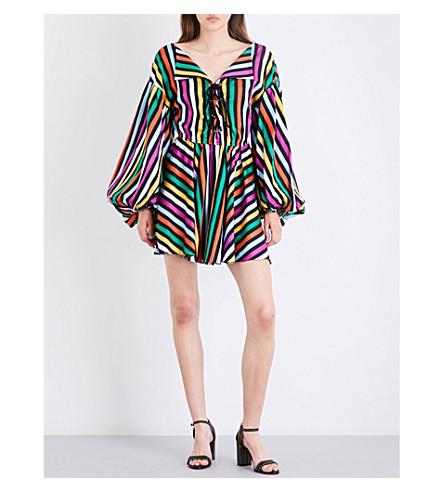 CAROLINE CONSTAS Olympia striped cotton-voile mini dress (Black+multi
