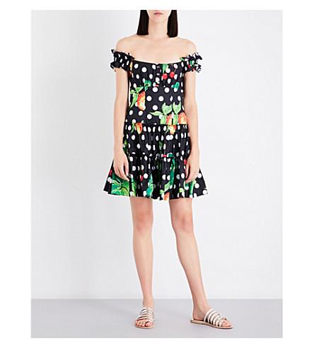 CAROLINE CONSTAS Maria off-the-shoulder cotton-blend dress (Black+poker+dot
