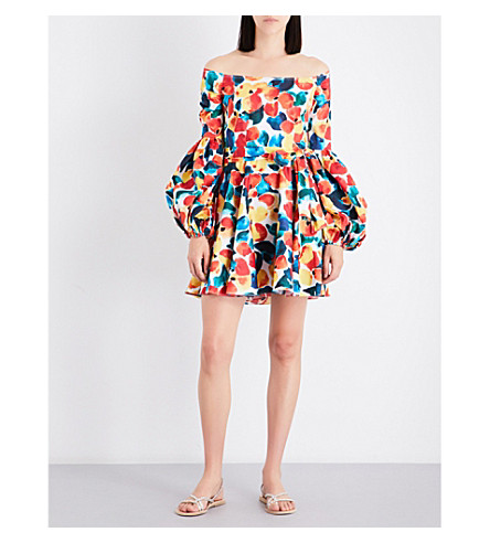 CAROLINE CONSTAS Gisele cotton-blend off-the-shoulder dress (Saffron+multi