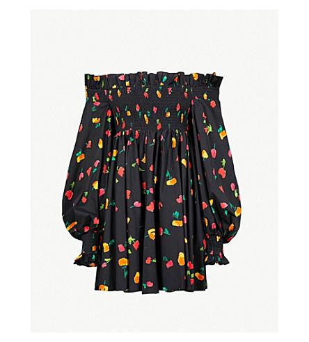 CAROLINE CONSTAS Kora floral-print off-the-shoulder cotton-poplin dress (Black