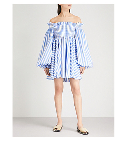 CAROLINE CONSTAS Kora striped off-the-shoulder cotton-poplin dress (Blue/white