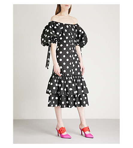 CAROLINE CONSTAS Nella off-the-shoulder cotton-blend midi dress (Black/white