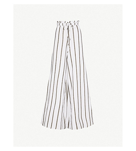CAROLINE CONSTAS Striped wide-leg cotton-blend trousers (White/black