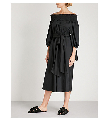 CAROLINE CONSTAS Lou off-the-shoulder cotton jumpsuit (Black
