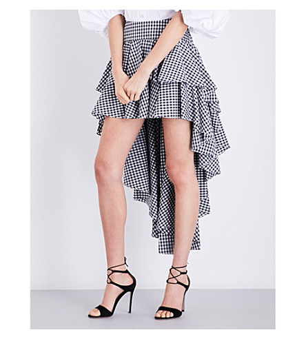 CAROLINE CONSTAS Giulia ruffle cotton skirt (Black+gingham