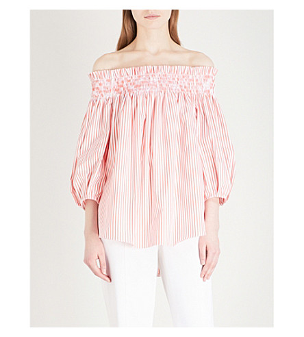 CAROLINE CONSTAS Lou off-the-shoulder cotton shirt (Coral+stripe
