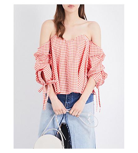 CAROLINE CONSTAS Gabriella off-the-shoulder cotton-poplin top (Coral+multi