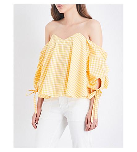 CAROLINE CONSTAS Gabriella off-the-shoulder cotton-poplin top (Yellow