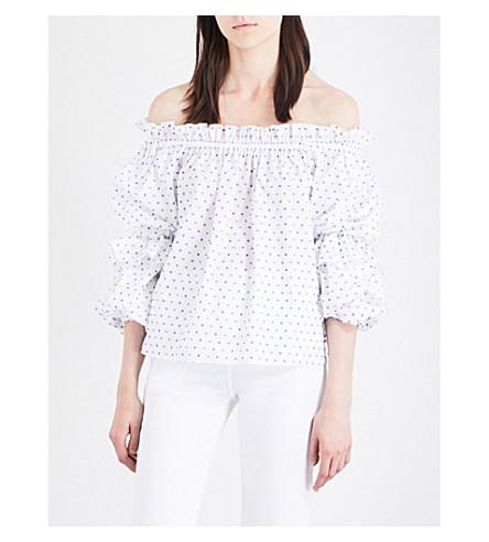 CAROLINE CONSTAS Gia off-the-shoulder cotton top (Blue+swiss+dot