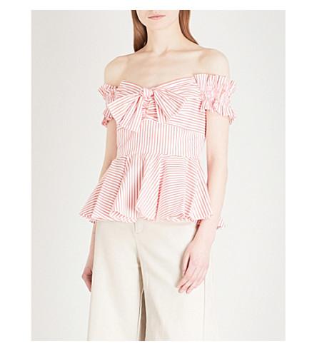 CAROLINE CONSTAS Artemis off-the-shoulder cotton top (Coral+stripe