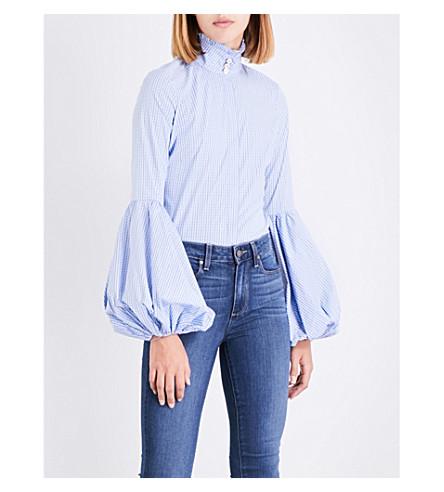 CAROLINE CONSTAS Jaqueline cotton-blend top (Blue