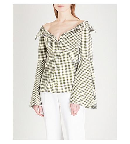 CAROLINE CONSTAS Persephone off-the-shoulder cotton top (Military