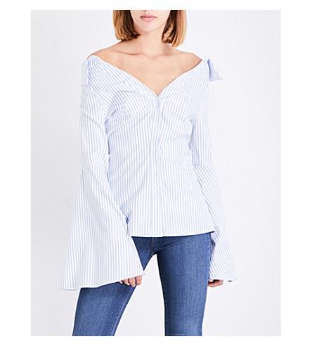 CAROLINE CONSTAS Persephone off-the-shoulder striped cotton-poplin top (Light+blue+stripe