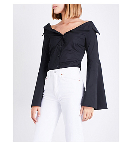 CAROLINE CONSTAS Persephone off-the-shoulder cotton-poplin shirt (Black