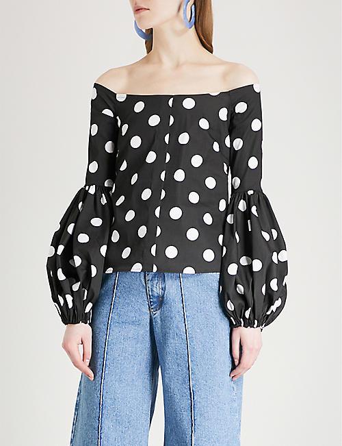 CAROLINE CONSTAS Giselle off-the-shoulder cotton-blend top
