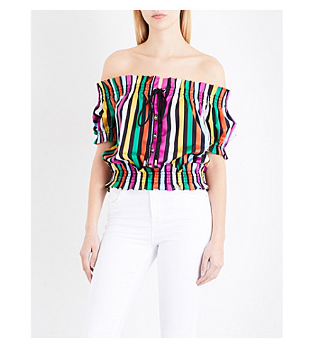 CAROLINE CONSTAS Peasant off-the-shoulder striped cotton-voile top (Black+multi
