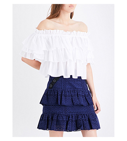 CAROLINE CONSTAS Pandora off-the-shoulder cotton top (White
