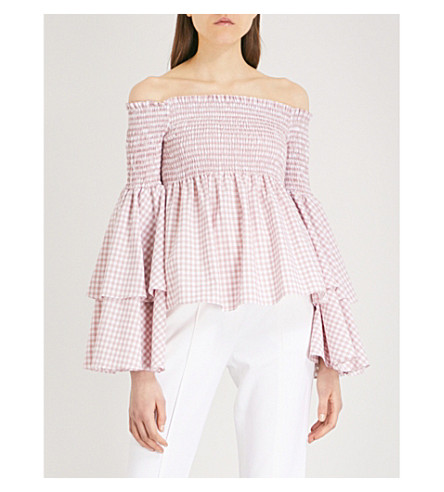 CAROLINE CONSTAS Appolonia off-the-shoulder cotton top (Blush
