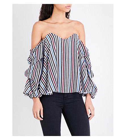 CAROLINE CONSTAS Gabriella striped cotton-voile top (Multi