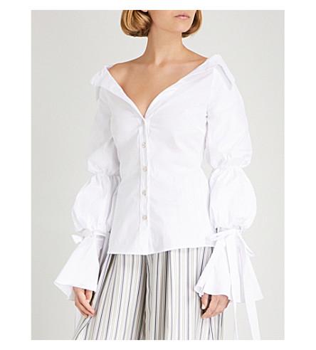 CAROLINE CONSTAS Margaret off-the-shoulder cotton shirt (White