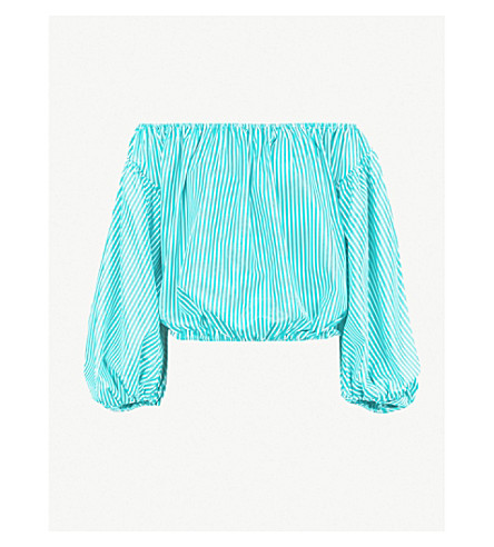 CAROLINE CONSTAS Andros striped stretch-cotton top (Teal