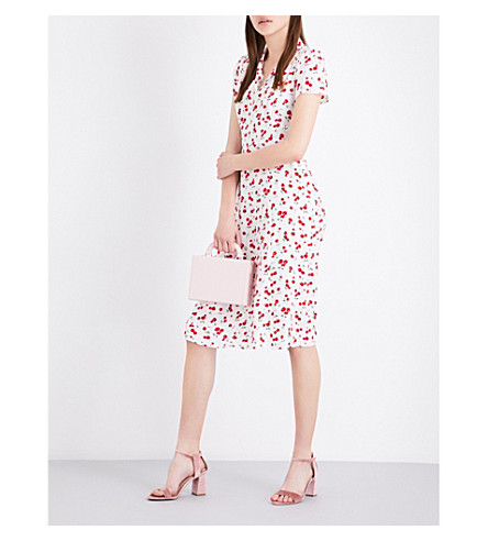 HVN Morgan cherry-print silk-satin dress (Cherry+print