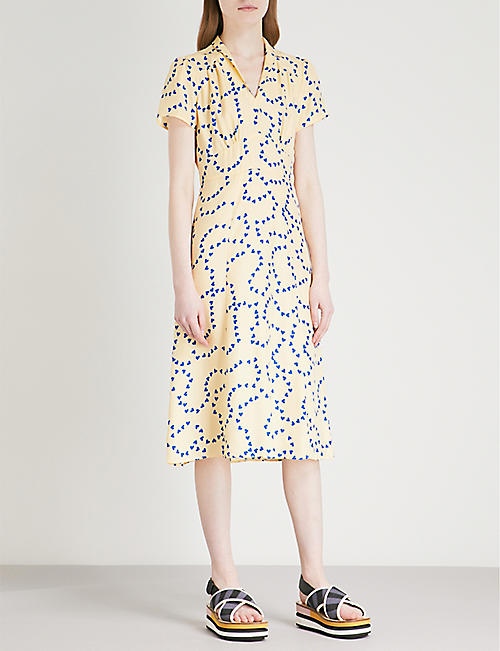 HVN Morgan heart-print silk-satin midi dress