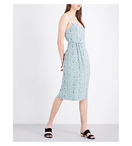 HVN Lily vine-print silk-satin slip dress (Octupus+garden