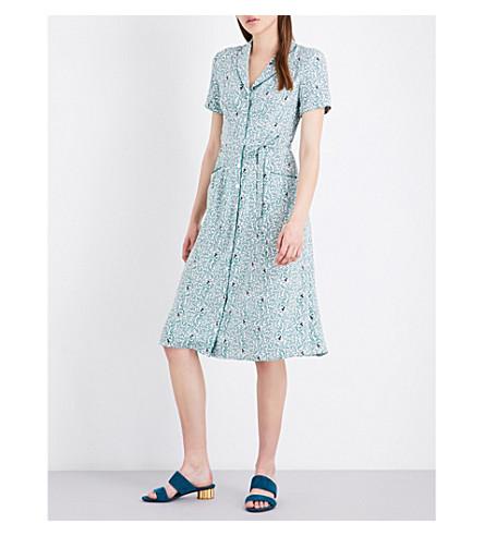 HVN Maria vine-print silk-satin dress (Octupus+garden