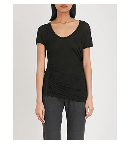 JAMES PERSE Ruched cotton T-shirt (Black