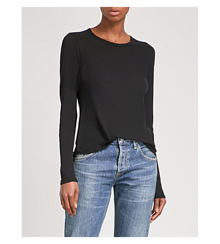 JAMES PERSE Semi-sheer cotton-jersey top (Black