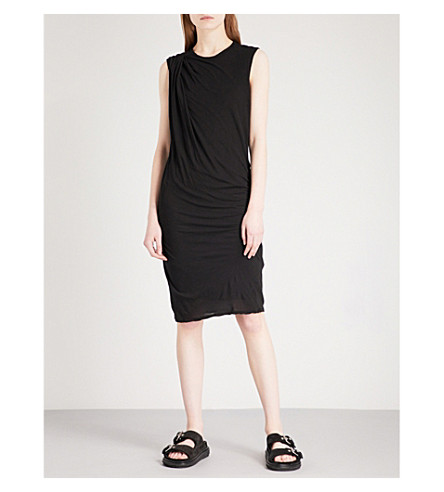 JAMES PERSE Draped sleeveless cotton-jersey dress (Black