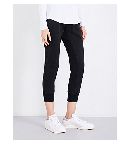 JAMES PERSE Cropped stretch-cotton jogging bottoms (Carbon