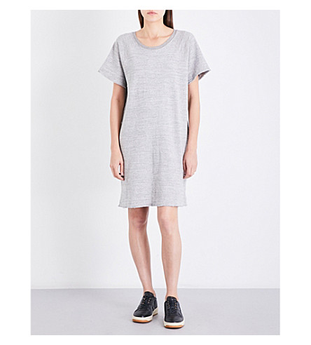 JAMES PERSE Fleece-lined cotton-jersey dress (Heather+grey