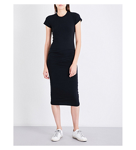 JAMES PERSE Ruched stretch-jersey midi dress (Black