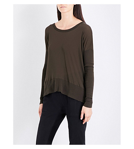 JAMES PERSE Oversized cotton-jersey top (Smoky+green
