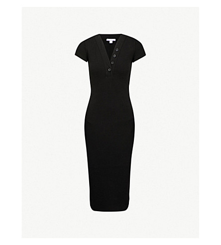 JAMES PERSE Ribbed-knit stretch-cotton dress (Black