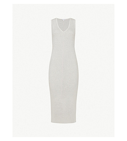 JAMES PERSE Ribbed stretch-cotton midi dress (Pale heather grey