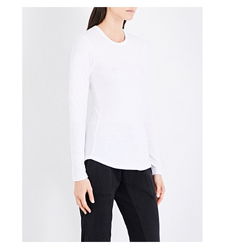 JAMES PERSE Round neck brushed cotton-jersey top (White