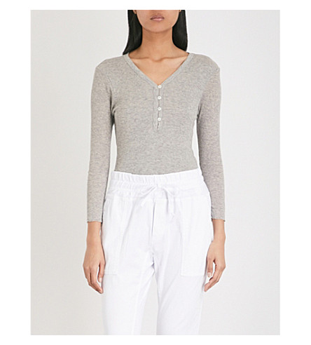 JAMES PERSE Henley cotton and cashmere-blend top (Heather+grey